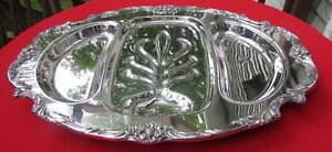 King Francis Pattern Large Divided Juice Meat Tray By Reed Barton Silverplate