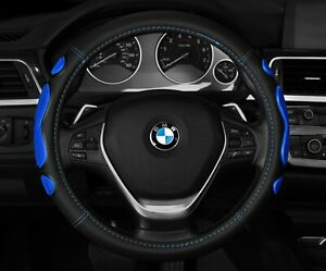 New Black Blue Car Steering Wheel Cover Anti Slip Size M 14 5 15 5
