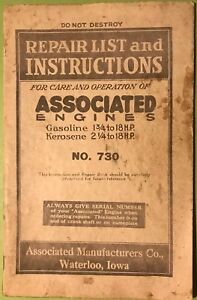 Repair List Instructions For Associated Hit Miss Gas Engine Manual Book No 730