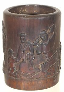 Antique Chinese Hand Carved Bamboo Brush Pot Pen Holder W Chinese Story Design