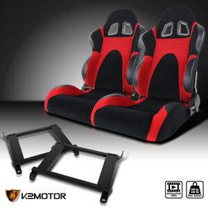 For 1996 2000 Honda Civic 2 3 4dr Black red Faux Suede Pvc Racing Seats brackets