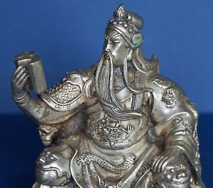 Antique Guan Gong W Chun Qui Silver Over Copper Semi Precious Dust