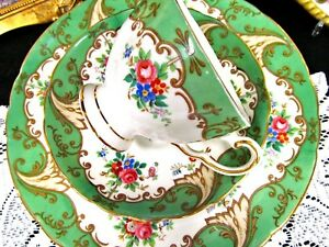 Tuscan Tea Cup And Saucer Green Rose Blenheim Pattern Teacup Trio Salad Plate