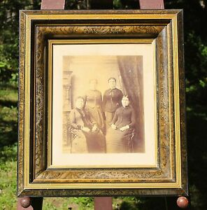 Antique Eastlake Frame Marbled Decoration Incised Ebonized Fantastic Photo