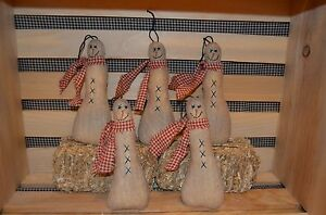 5 Primitive Hanging Snowman Ornies Doll Tucks Christmas Tree Ornaments Make Do S