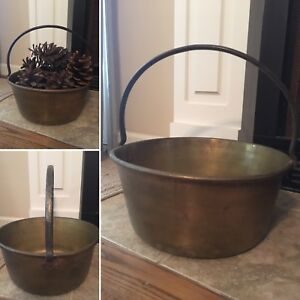 Antique Primitive Brass Hearth Kettle Bucket Pot With Riveted Iron Handle