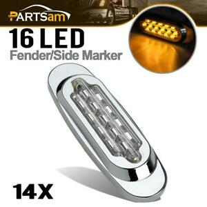 14x Clear amber 16 led Trailer Side Marker Lights Clearance Sealed For Kenworth