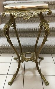 Antique Ornate Victorian Cherubs Brass Onyx Pedestal Plant Stand Table Claw Foot