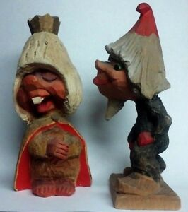 Figural Folk Art Troll Queen Male Admirer Wood Carvings Pair By Henning Norway