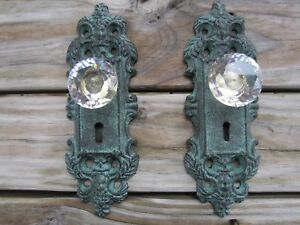 Victorian Cast Iron Door Plate With Crystal Glass Knob Coat Robe Hook Set Of 2