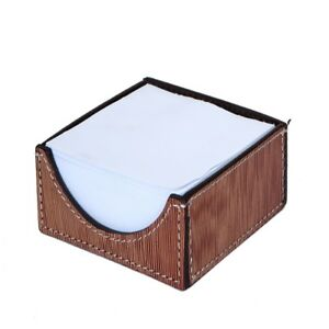 Matching Thread Stitched Wicker topped Leather Executive Desk Notepad Holder