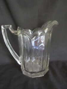 Antique Glass Pitcher With Panel Ribbed Optic Glass Sides Classic 8 Tall