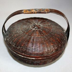 Antique Vintage Victorian 6 Lacquered Wicker Sewing Basket W Lid