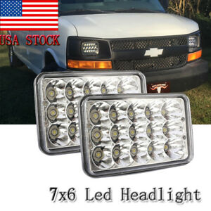 2pcs 7x6 Inch Led Light Bulbs Crystal Clear Sealed Beam Headlight Headlamp