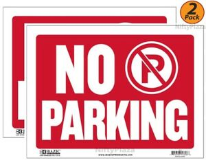 2 Pack No Parking Sign 9 x12 Durable Plastic Weatherproof Bright Visible