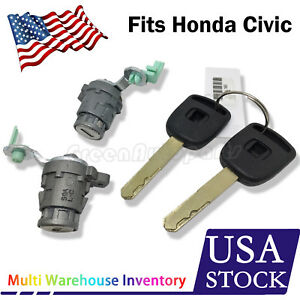 Left Right Driver Side Door Lock Cylinder For Honda Civic 2001 2005 W 2 Key
