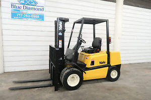 2004 Yale Gp060 Dual Wheel 6 000 Pneumatic Tire Forklift 3 Stage Sideshift
