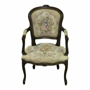 Vintage Carved Italian Tapestry Accent Chair