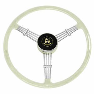 Empi 79 4060 Banjo Style Grey Vintage 3 Spoke Steering Wheel 15 1 2 Diameter