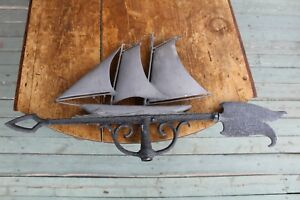 Antique Nautical Nice Cast Metal Sailboat Weathervane With Forged Arrow