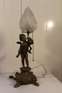 Antique Metal Ornate Table Lamp Newel Post Cherub Frosted Torch Glass Shade