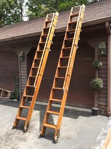 2 Same Vtg Western Electric Rolling Wood Library warehouse Ladders W rails nice
