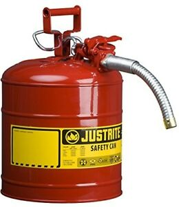 5 Gallon Gas Can Metal Five Container Gasoline Big Steel Gl Round Storage Tank A