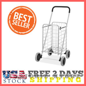 Heavy Duty Wheel Folding Jumbo Loads Shopping Cart easy Storage Sturdy Steel New
