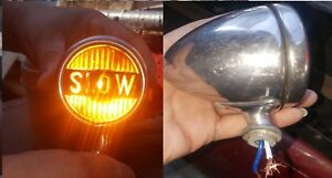 Antique Vintage slow Light Yellow Glass Unique Tail Light Rat Rod Chevy Ford