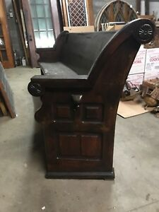 2 Available Priced Separate Antique Curved Oak Church Pew