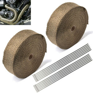 2roll 2 50ft Titanium Fiberglass Heat Wrap Exhaust Header Pipe Tape Cloth Wties
