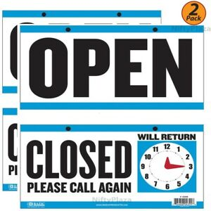 2 Pack Open Sign Closed Sign With Clock On The Back 6 x11 5 Durable Plastic