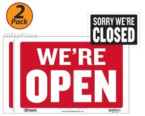 2 Pack Open Sign With Closed Sign On Back 9 X 12 Durable Plastic