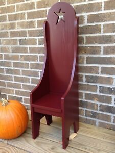 Primitive Country Rustic Handmade Tall Barn Red Doll Hearthside Chair W Star