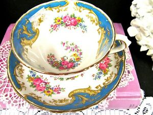 Tuscan Tea Cup And Saucer Naples Pretty Pink Roses Blue Bands Teacup Set