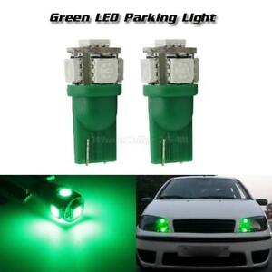 2x 5 5050 smd Green Led T10 W5w 194 Parking Running Light Bulbs