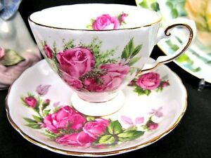 Tuscan Tea Cup And Saucer Painted Rose Clusters Moss Rose Pattern Teacup