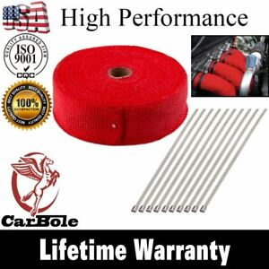Red 2 X 50ft Exhaust Header Fiberglass Heat Wrap Tape W 5 Steel Ties Kit Us