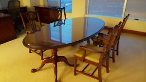 Elegant Kimball Conference Table Queen Ann Cherry Wood Veneer