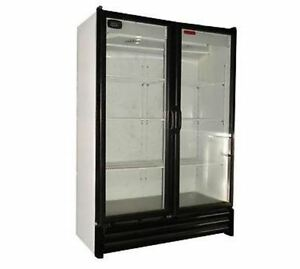 New Space Saver 2 Full Door Glass Display Cooler Refrigerator 28 Cu Free Shippng