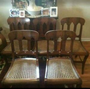 Set Of Five Cane Bottom Chair
