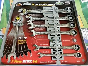 Gearwrench 9417 Standard Metric Combination Ratcheting Wrench Set 7 Pc