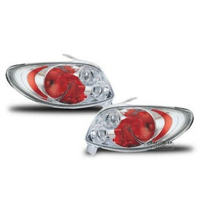 Clear Rear Tail Lights In Chrome Color Set For Peugeot 206cc 206 Cabriolet