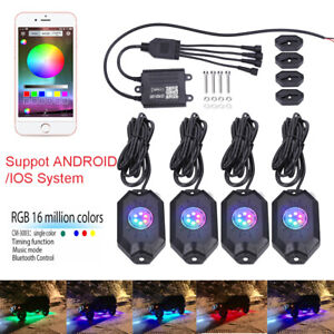 8 Led Rock Lights Aluminum Wireless W bluetooth Music Rgb Color Accent Under Car