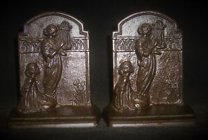Vintage Bookends Ladies And Lyre Art Nauveau Hubley Ca 1925