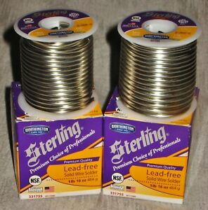 Lot Of 2 Sterling Lead free Solid Wire Solder Rolls W box Brand New 1 Lb Rolls