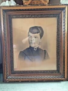 Vintage Victorian Large Oak Frame Carved Wood Beautiful Detailing W Lady Photo