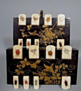 Pair Japan Japanese Meiji Period Inlaid Insect Shibayama Lacquered Whist Markers