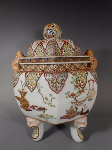 Japan Japanese Satsuma Hexagonal Porcelain Tripod Incense Burner Ca 1920 30 S