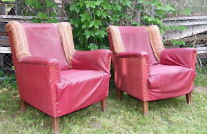 Pair Art Deco Armchairs Club Chairs Wing Back Library 1920s Vintage Antique